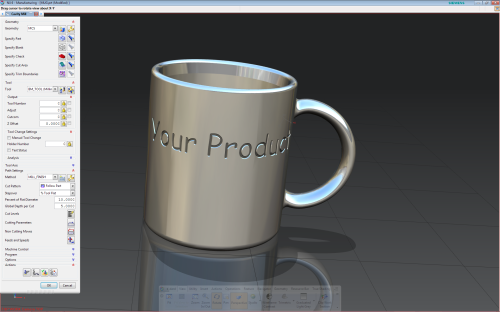 Mug model that is going to be milled